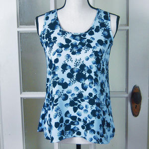 LOFT XSP Blue Floral Sleeveless Top